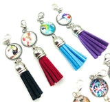 glass cabochon planner clip with tassel charm clips charms stationery gifts uk cute accessories floral bird birds flowers