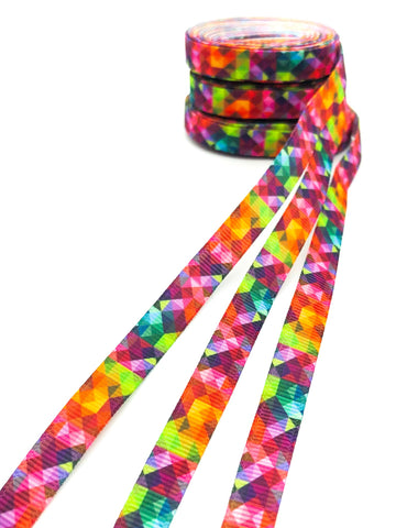 10mm narrow geo geometric abstract rainbow patterned grosgrain ribbon uk ribbons craft supplies kawaii cute