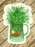 cute sloth in mug cute teacup postcard post card cards uk kawaii stationery store pretty animal animals