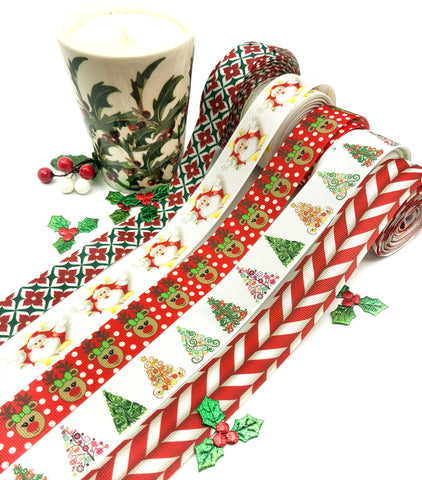 christmas grosgrain ribbons 22mm 25mm festive ribbon bargains