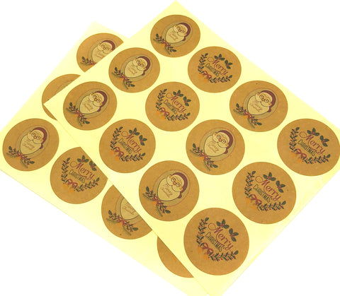 santa and christmas wreath festive 35mm round kraft stickers sheet
