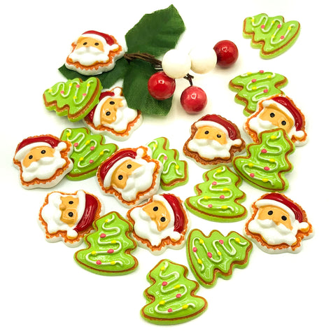 santa tree cookie resin fb flat back christmas cookies father trees