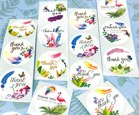 large 38mm 1.5 inch round thank you thankyou sticker stickers packaging supplies uk cute kawaii flower floral bird birds butterflies butterfly flora fauna