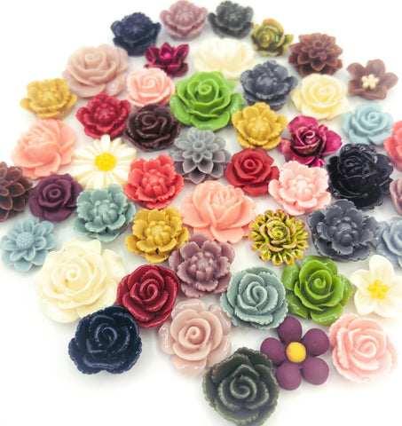 resin vintage colour colours feel retro antique flowers resin fb flat back flatback embellishment bundle bundles kawaii cute craft supplies uk muted soft rose roses