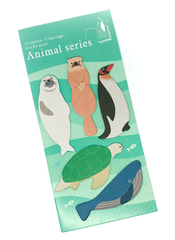 page marker sticky memo index tab animals sealife whale turtle seal otter penguin standing pack