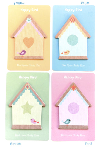 Happy Bird House mini sticky memo pad little memos birds