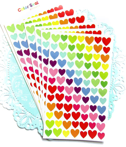 sheet of 84 rainbow coloured heart stickers glossy hearts