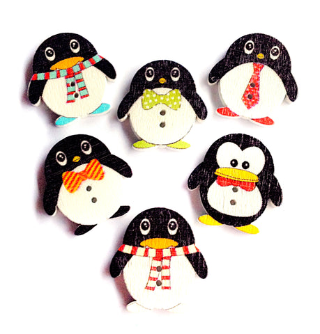 christmas penguin wood button penguins white wooden buttons kawaii christmas