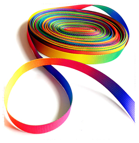 rainbow ombre narrow 10mm wide grosgrain ribbon yard uk cute kawaii craft supplies thin bright colours rainbowy ribbons