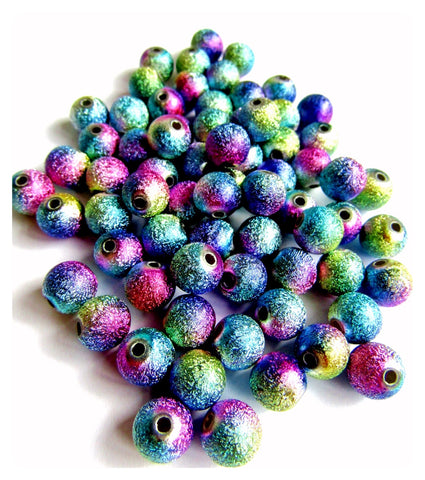 rainbow stardust glitter acrylic beads 4mm 6mm 8mm and 10mm