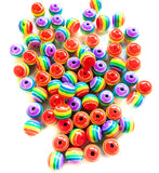 rainbow striped 8mm acrylic bead beads uk cute craft supplies rainbows stripes stripe small round