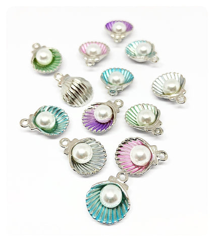 pearly shell silver tone charm shells seashell charms