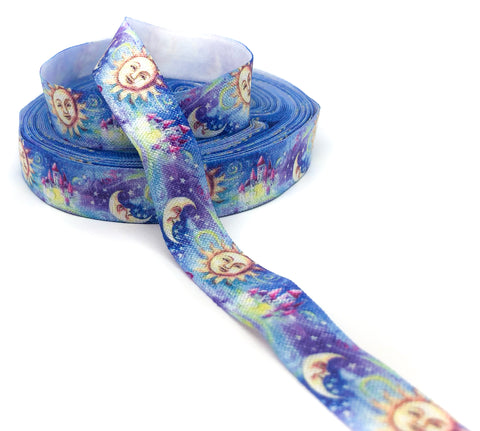 sun moon and stars 15mm foe elastic ribbon one yard night sky galaxy ribbons fold over elastics