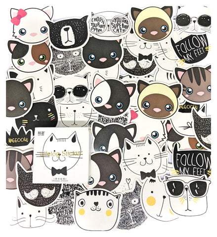 cat face faces mini sticker flakes box of 45 stickers kawaii cats