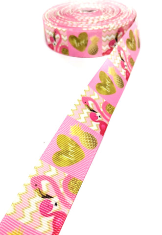 pink flamingo love 25mm wide grosgrain ribbon hearts and pineapples tropical