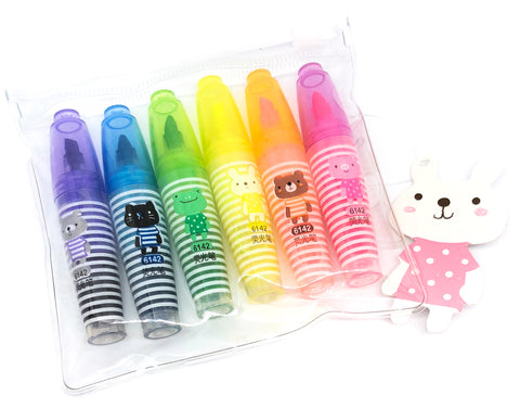 mini animal highlighters set of 6 animals kawaii highlighter pack