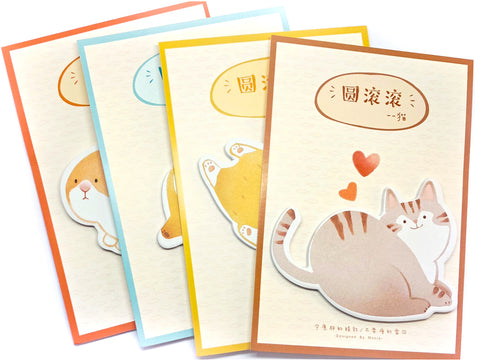 chubby obese animals pets sticky memo cat bear rabbit and fox memos