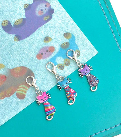 cute cat cats planner charm charms clip clips stitch marker kawaii kitty kitties silver tone planning accessories uk