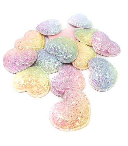 Glittery Smaller Heart AB Pastel Glitter Patch 36mm