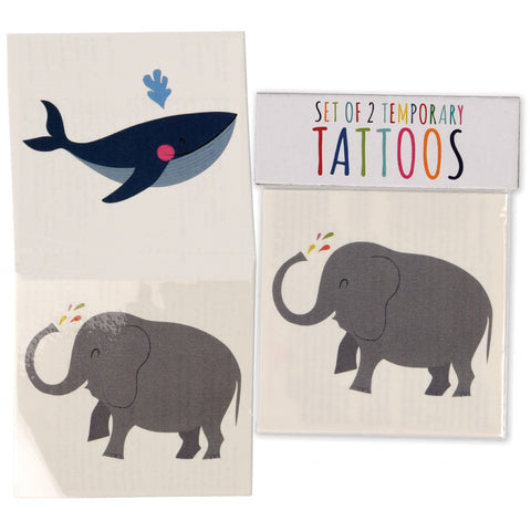 elephant elephants whale whales kids temporary tattoos tattoo uk cute kawaii gift gifts party bag stocking fillers boy boys