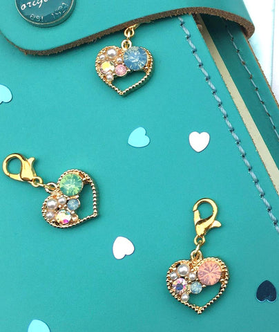 sparkly heart rhinestone and pearl planner charm clip charms uk cute kawaii planning accessories rhinestone ab iridescent pink blue green