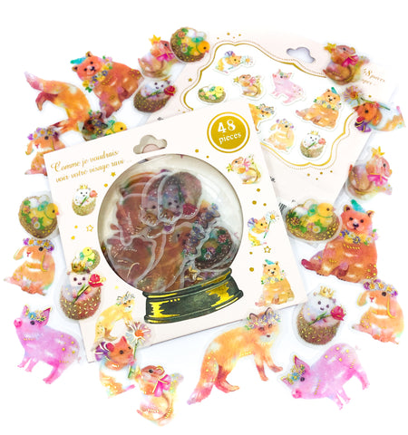 adorable animals translucent sticker flakes pack of 48 stickers gold foiled fox bear pig rabbit squirrel