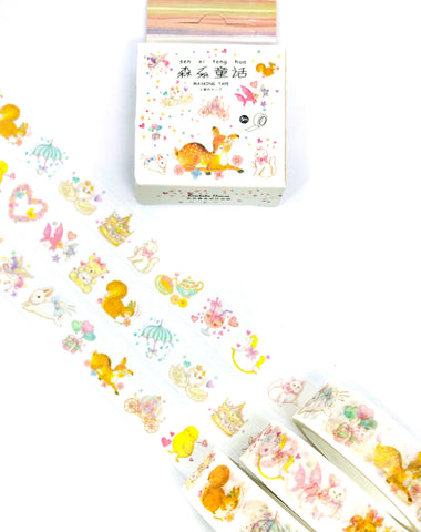 adorable spring animals boxed washi tape 5m cute ducks rabbits cats deer