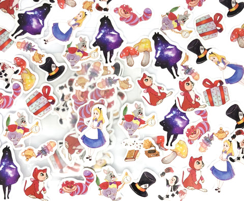 alice in wonderland glossy sticker flakes pack of 50 stickers
