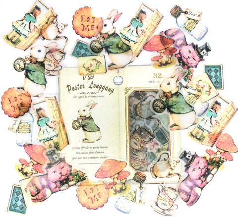 alice in wonderland translucent sticker flakes pack of 32 stickers vintage style foiled