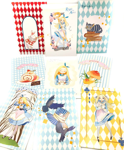 kawaii alice in wonderland postcard postcards cute stationery uk white rabbit retro post card cards collector individual addict