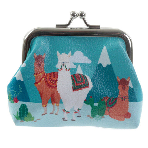 cute alpaca llama alpacas llamas mini small click tic tac purse purses turquoise pvc uk kawaii gift gifts