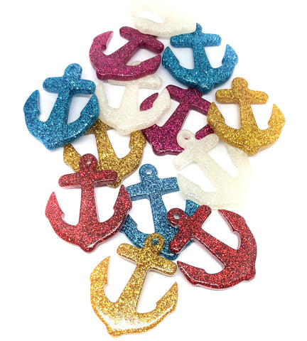 32mm acrylic glitter anchor anchors resin charm pendants