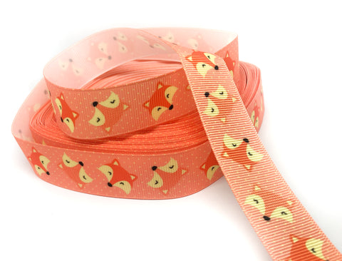 yard orange apricot fox grosgrain 22mm wide ribbon foxes