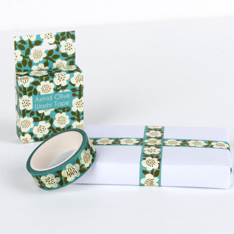 turquoise and olive green astrid floral boxed 7m washi tape uk cute craft supplies stationery tapes flowers