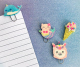 purrmaid cat narwhal whale cute ice cream kawaii paper clip clips planner accessories handmade gifts uk glitter