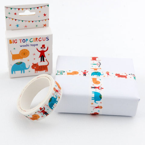circus big top cute washi tape box boxed uk packaging supplies rex london elephant lion tiger ring master uk stationery