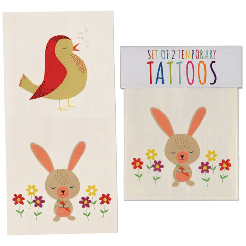 bunny rabbit rabbits and robin robins bird kids temporary tattoos tattoo uk cute kawaii gift gifts party bag stocking fillers boy boys