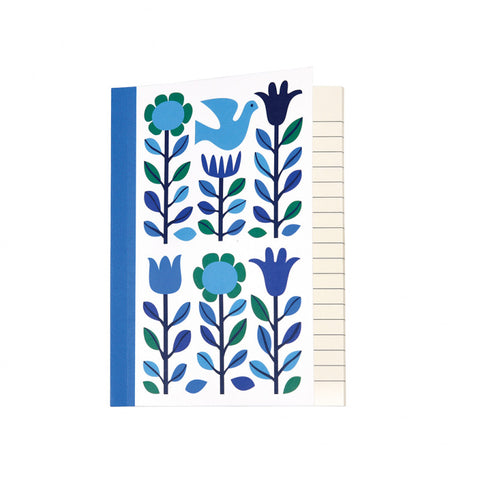 retro blue flowers and dove a6 notebook pocket note book notebooks kawaii cute uk stationery
