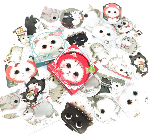 kawaii cat cats mini sticker flake flakes box of 45 glossy stickers