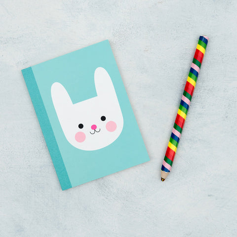 a6 bunny rabbit turquoise blue notebook lined pages 60 page note book cute kawaii uk stationery