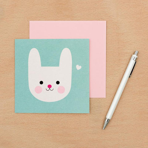 kawaii cute bunny rabbit square greetings card blank uk stationery cards animals animal