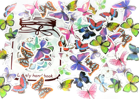butterfly butterflies sticker flake flakes pack of 48 glossy stickers
