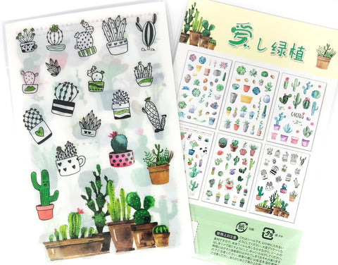 cacti cactus clear sticker pack of 6 sheets flat stickers plastic planner journalling