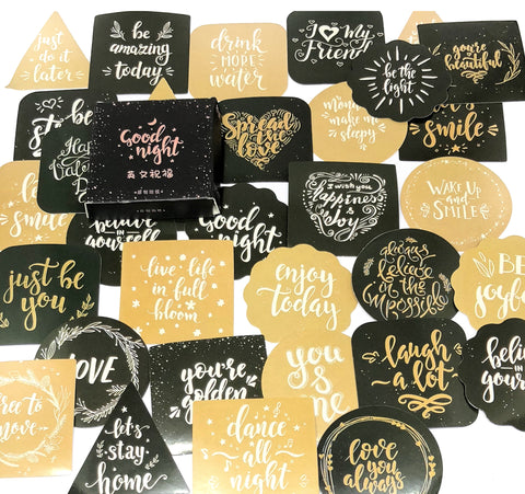 good night chalkboard phrases sticker flakes mini box of 45 stickers