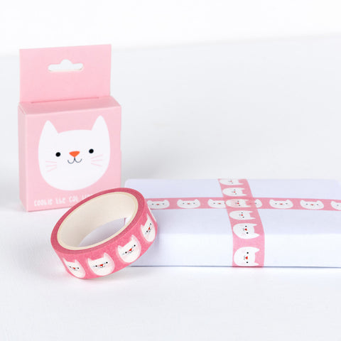 cute cookie the cat pink animal boxed 7m washi tape tapes kawaii stationery uk rex london