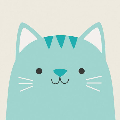 kawaii cute turquoise cat square greetings card blank uk stationery cards animals animal
