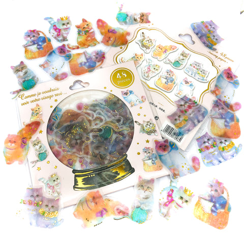 translucent sticker flake flakes stickers cats kittens 48 gold foiled pack