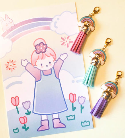 Enamel Charm Planner Clip- Rainbow and Clouds