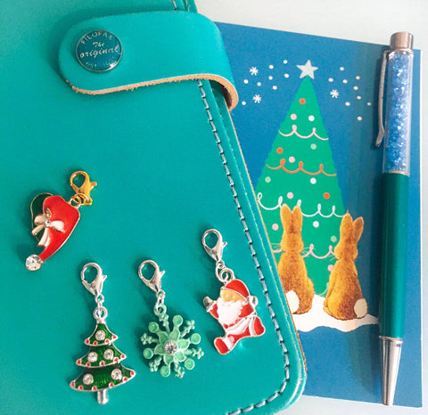 christmas planner clip charm charms cute festive planning accessories uk handmade gift gifts santa hat tree snowflake rhinestone enamel clips stitch marker markers