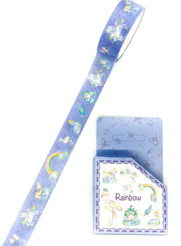 blue magical 5m washi tape boxed unicorns rainbows flamingo swan fairytale tape
